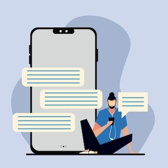 Homme à l'aide de smartphone et d'écouteurs, illustration de bulles de chat