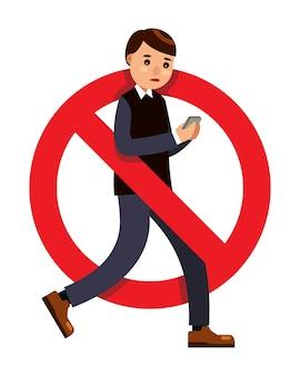 Homme à l'aide de smartphone tout en marchant signe