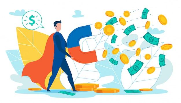 Homme avec aimant rassemblant de l'argent, des pièces de monnaie, des dollars.