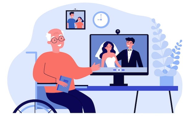 Homme aîné, regarder, film, depuis, mariage