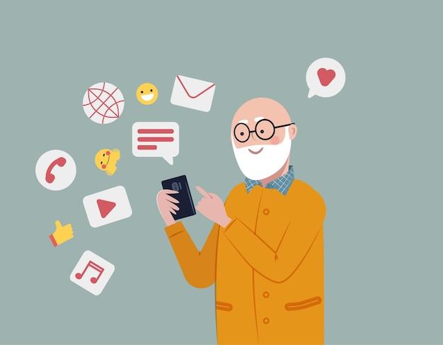Homme aîné utilisant un smartphone pour la connexion sociale et le divertissement mode de vie social actif