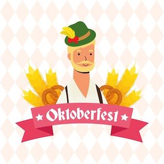 Homme allemand barbu portant costume tyrolien caractère vector illustration design