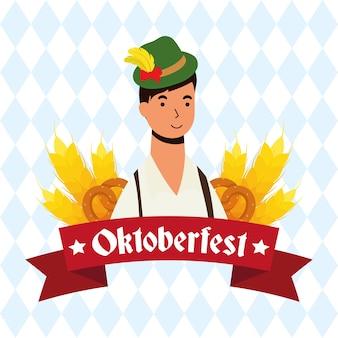 Homme allemand portant costume tyrolien caractère vector illustration design