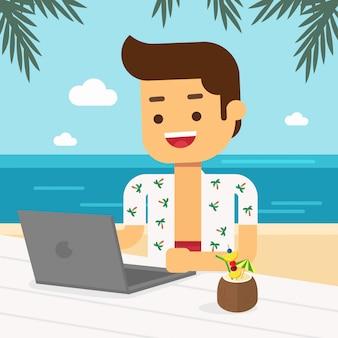 Homme aller voyager pendant les vacances d'été, homme travaillant sur son ordinateur portable à la plage tout en dégustant des fruits tropicaux