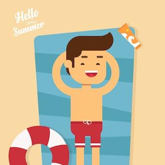 Homme aller voyager en vacances d'été, homme allongé sur la plage