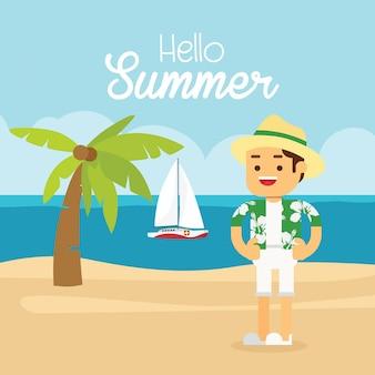 Homme aller voyager en vacances d'été