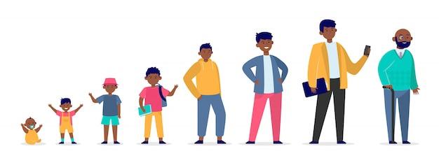 Homme américain africain, dans, différent, âge