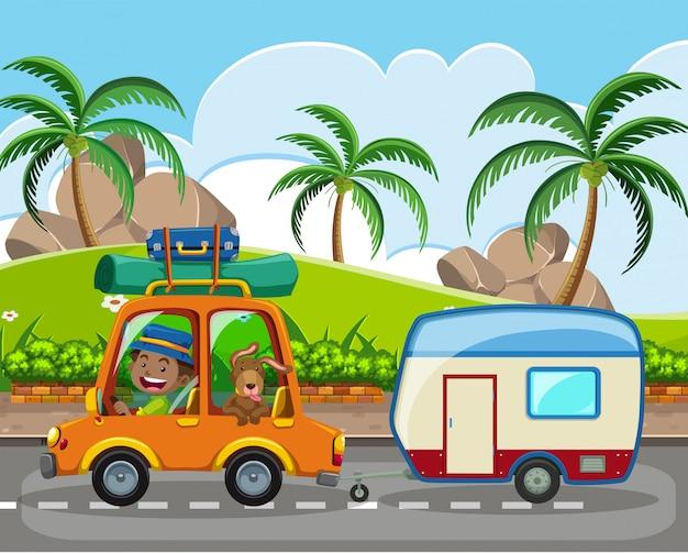 Un homme et un animal de compagnie en caravane