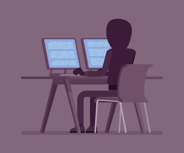 Homme anonyme avec face cachée à l'ordinateur
