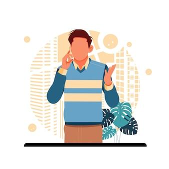 Un homme appelant un client, concept de design plat.