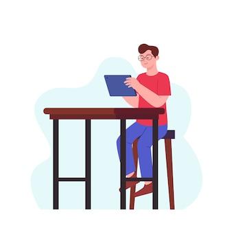 L'homme apprécie avec tablette sur chaise au design plat