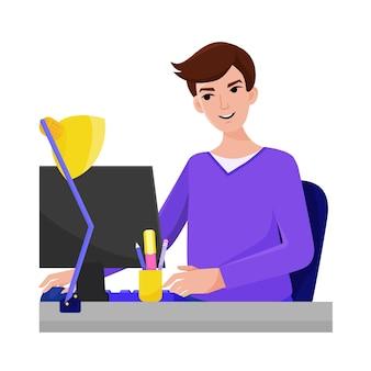 L'homme apprend en ligne à l'aide d'un ordinateur cours en ligne à distance étudiant l'auto-éducation