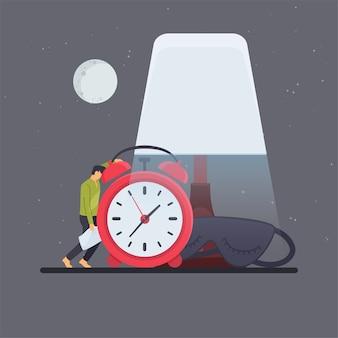 Homme appuyé sur l'alarme sous la lampe de bureau dans la métaphore de minuit de l'insomnie.