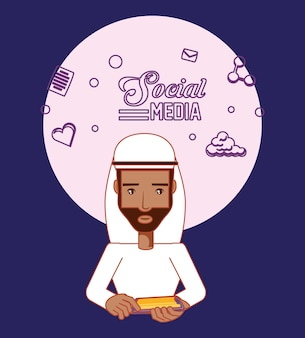 Homme arabe avatar utilisateur smartphone social media