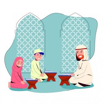 Homme arabe enseignant le coran aux petits enfants