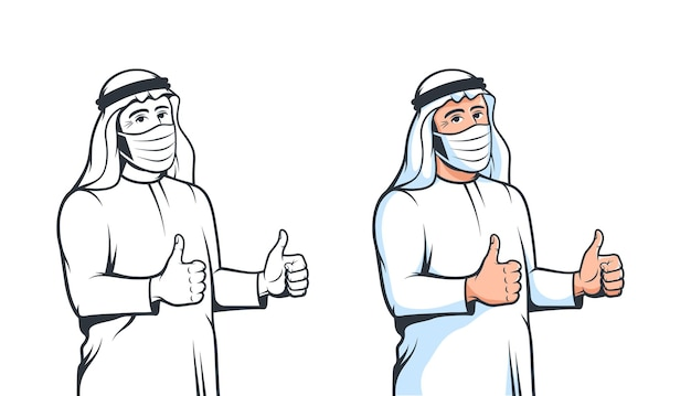 Homme arabe en masque médical pouces vers le haut dans un style rétro musulman arabe portant un masque fase