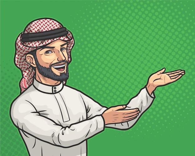 L'homme arabe montre quelque chose
