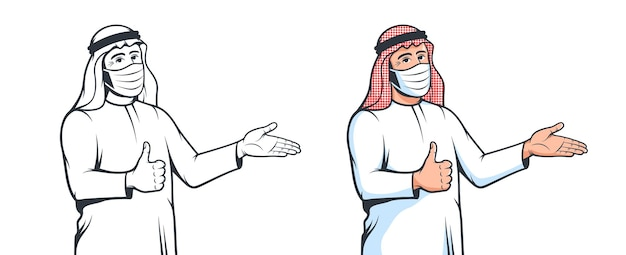 Homme arabe musulman en masque médical avec geste de bienvenue nouvel homme arabe normal en masque facial