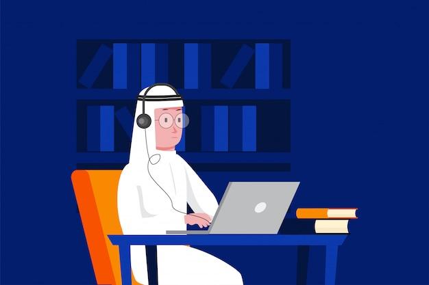 Homme arabe avec ordinateur portable