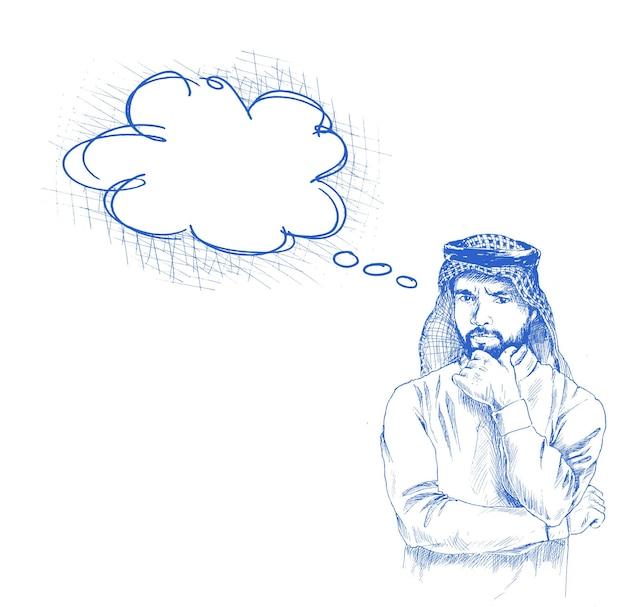 Homme arabe saoudien portant un thobe avec une expression faciale confuse ou pensante, illustration vectorielle de croquis dessinés à la main.