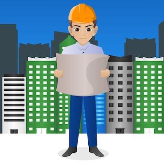 Homme architecte tenant le plan directeur
