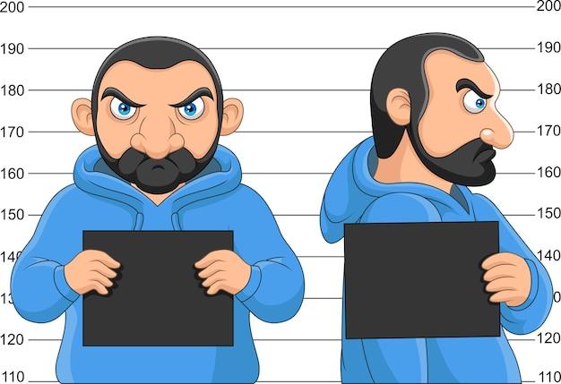 Homme Arrêté Posant Pour Mugshot Tenant Un Panneau Vecteur Premium