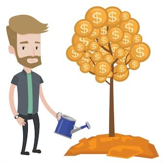 Homme arrosant l'arbre d'argent.