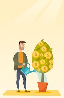 Homme arrosant l'arbre financier.