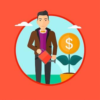 Homme arrosant une fleur d'argent.