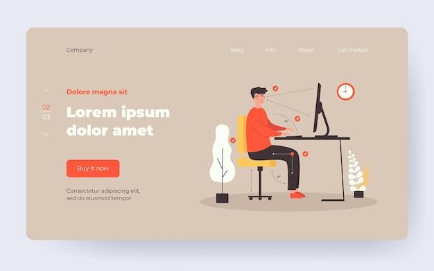 Homme assis au bureau en position correcte illustration vectorielle plane. guy de dessin animé travaillant dans la bonne posture pour un dos sain et gardant la distance entre l'ordinateur et les yeux. concept de travail de bureau ergonomique