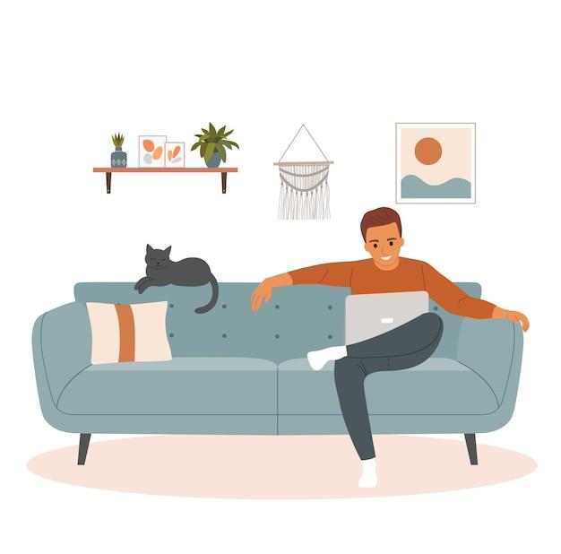 Homme assis sur le canapé avec ordinateur portable. illustration de style plat de dessin animé de vecteur