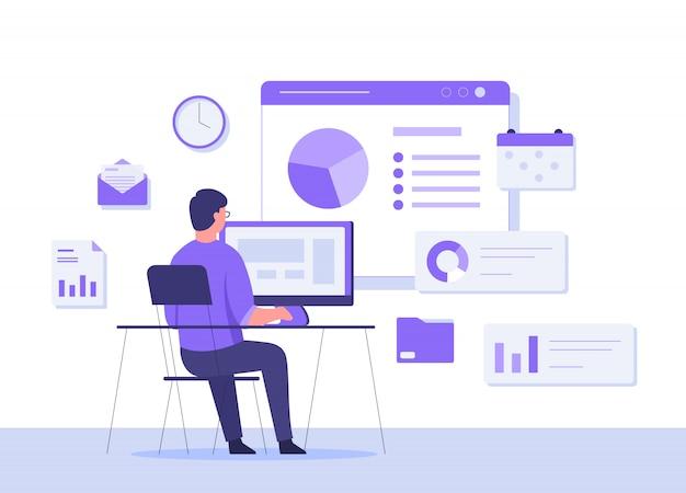 Homme assis sur une chaise de travail bureau fond calendrier calendrier horloge e-mail dossier dossier diagramme sur l'écran de messagerie. concept productif avec style cartoon plat.