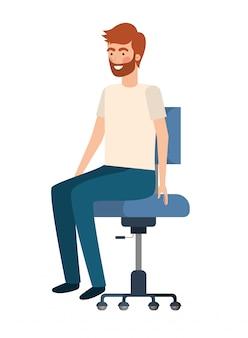 Homme avec assis dans le personnage d'avatar de chaise de bureau