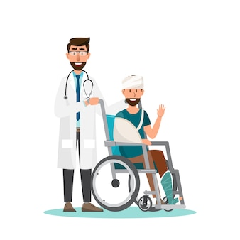Homme assis sur un fauteuil roulant avec un médecin prenez soin de vous.