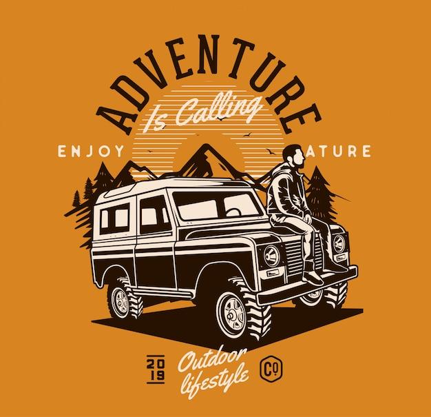 Homme assis sur une jeep aventure