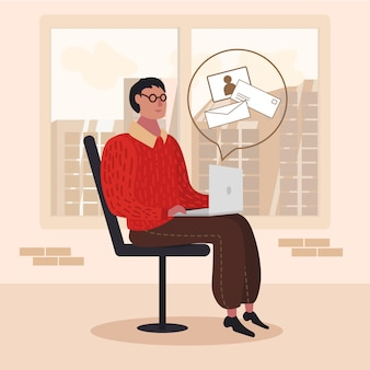 Homme assis avec un ordinateur portable vérifiant une caricature de courrier électronique