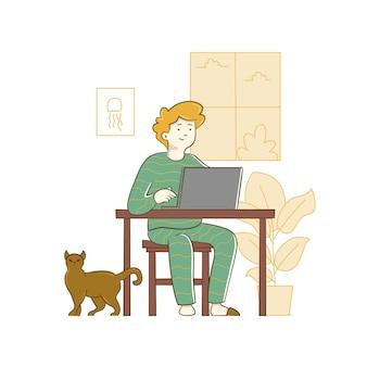 Homme Assis à L & # 39; Ordinateur Et Travaillant Sur Un Projet Indépendant Vecteur Premium