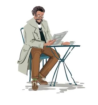 Homme assis à table dans un café lisant un croquis de vecteur de journal