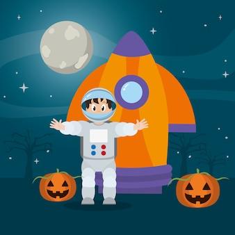 Homme astronaute avec fusée et citrouille heureux