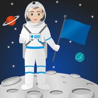 Homme astronaute tenant casque / drapeau