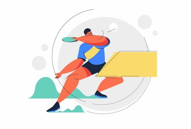 Homme d'athlète abstrait de tennis de table ou de ping-pong pendant la bataille dans le jeu