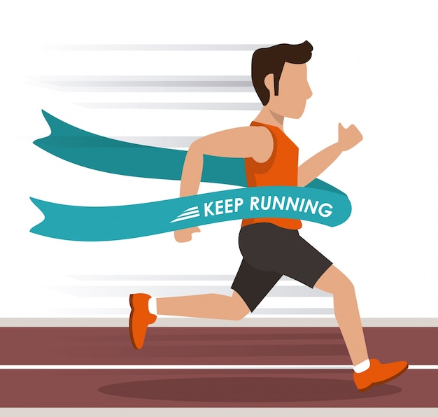 Homme athlète courant dans la piste et traversant la ligne d'arrivée