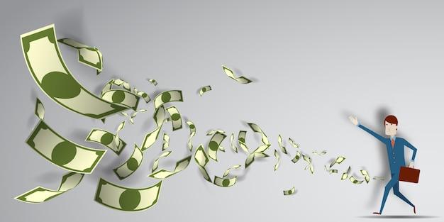 Homme atteignant pour l'argent qui vole dans les airs avec illustration vectorielle de papier art fond