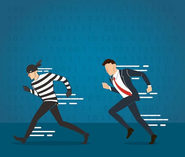 Homme attrapant le voleur
