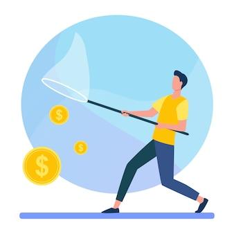 Homme attraper de l'argent avec filet à papillons. argent comptant, pièces de monnaie, illustration vectorielle plane dollar. finances, gains, revenus