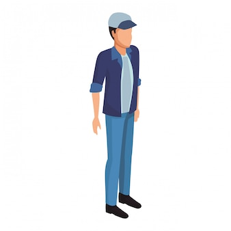Homme au chapeau avatar isométrique