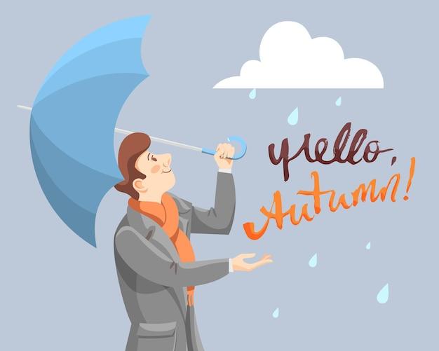 L'homme au parapluie rencontre l'automne. personnage de dessin animé de vecteur avec inscription bonjour automne