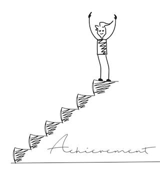 Homme au sommet des escaliers, fond de vecteur de dessin animé dessinés à la main.
