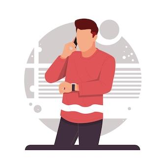 Homme au téléphone en regardant sa montre-bracelet au design plat