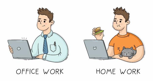 Homme au travail de bureau et devoirs avec ordinateur portable